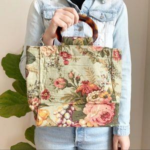 Maggi B Floral Print Canvas Bag Handbag Roses